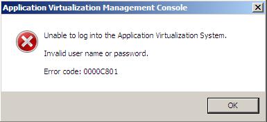 App-V Error code 0000c801