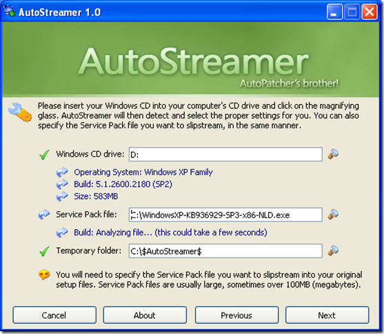Create a slipstreamed and bootable Windows XP CD with