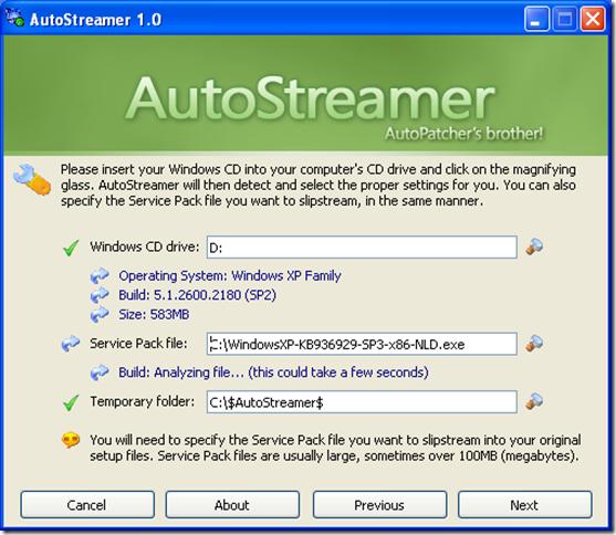 Slipstream Windows XP SP3 with Autostreamer