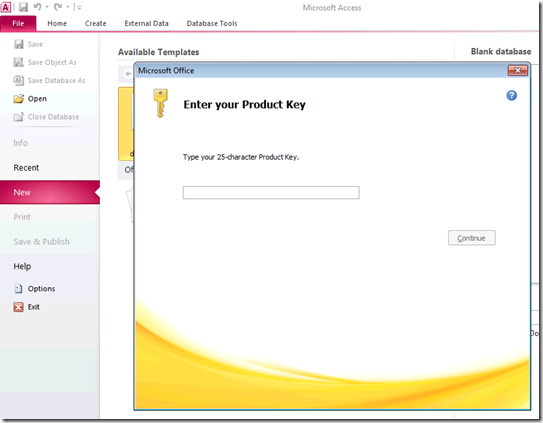 Microsoft Office - Enter your Product Key