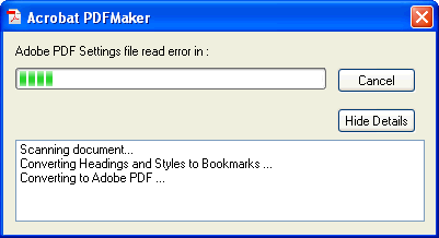 Adobe PDF Settings file read error in - Details