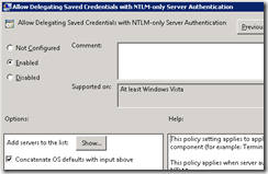 Allow Delegation Saved Credentials witg NTLM-only Server Authentication