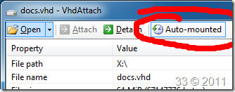 Create a permanently attached VHD with VhdAttach