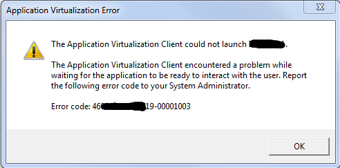 AppV - Error while waiting for the application to be ready to interact with the user