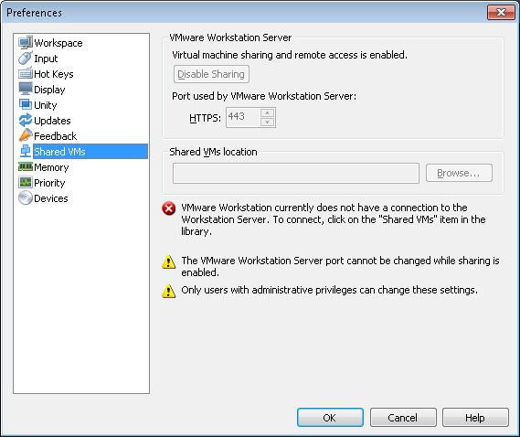 VMWare Workstation 8 - shared VMs