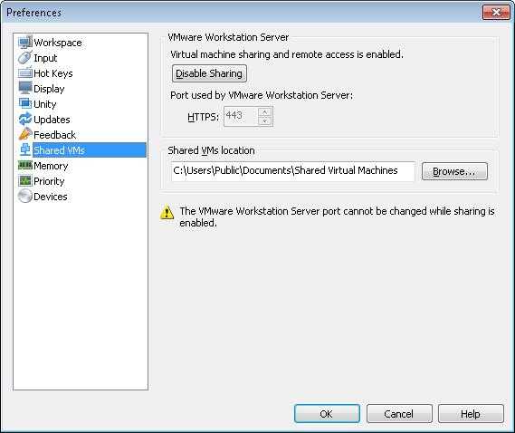 VMWare Workstation 8 shared VMs - runas admin