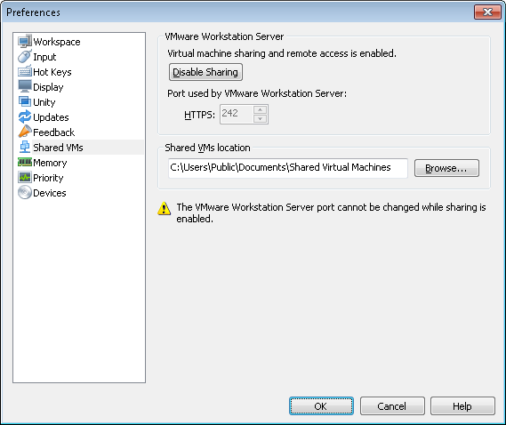 VMware Workstation 8 shared VMs - port changed