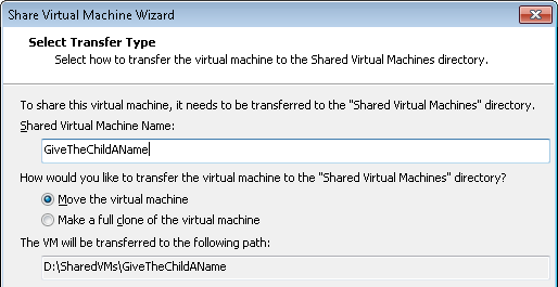 Transfer VM to the share location