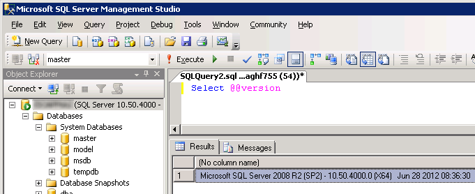 How to determine SQL Server version using a query