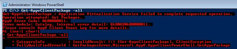 AppV Client error 0600000011