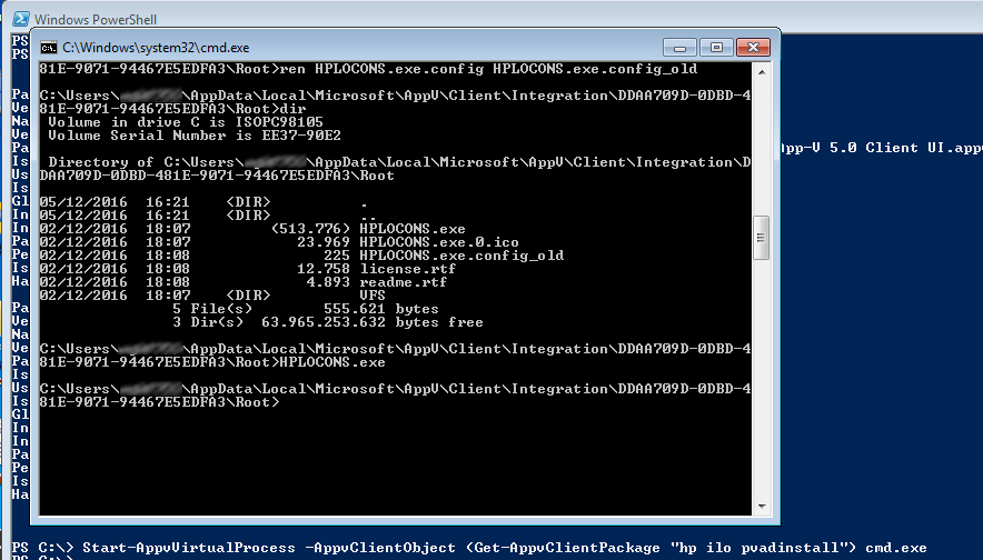 AppV Sequencing HP iLO Integrated Remote Console and  NET Runtime