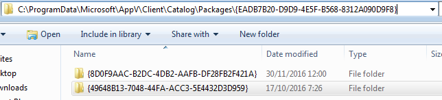 AppV cache shows two versions of one packge