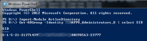 powershell get security group SID
