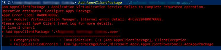 AppV Error Code 0480070002